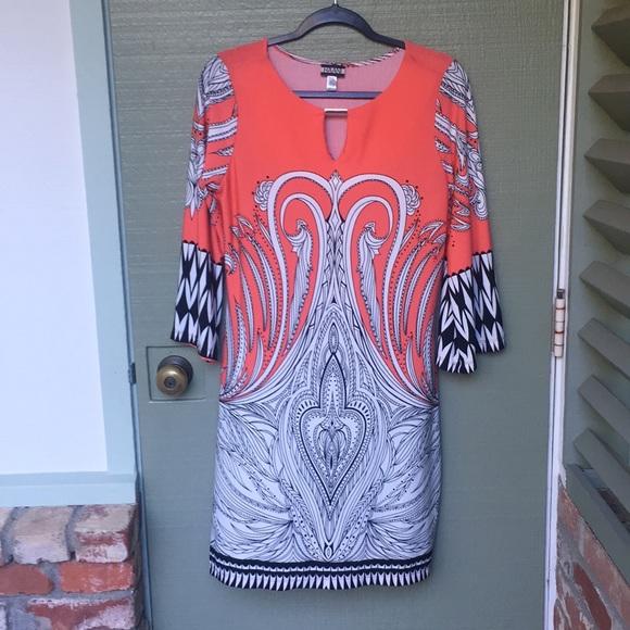 Haani Dresses & Skirts - HAANI- size medium boho coral stretchy dress